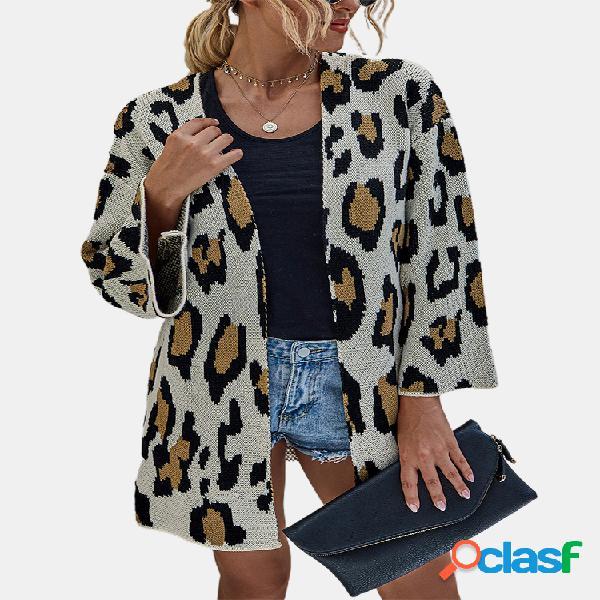 Casaco casual de manga comprida estampado leopardo para mulheres