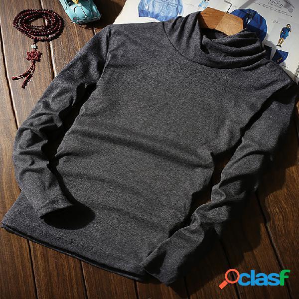 Suéter casual masculino básico com gola alta com gola alta cor sólida