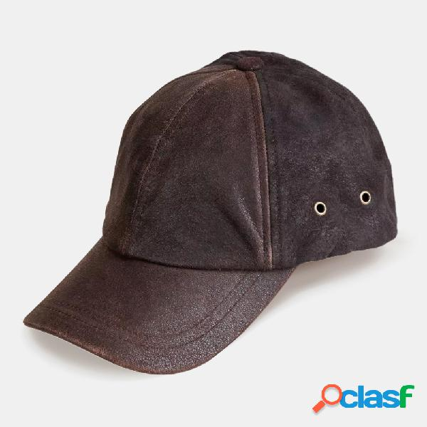 Aba curva ajustável de couro de búfalo e camurça masculina diariamente beisebol ao ar livre chapéu