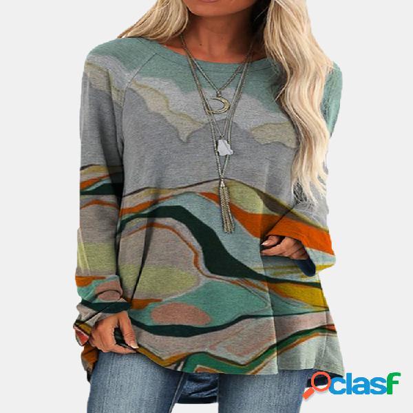Blusa casual de manga comprida com decote redondo para mulheres