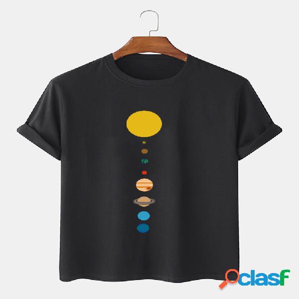 Camiseta masculina 100% algodão cartoon planet print sólida fina e solta com gola o