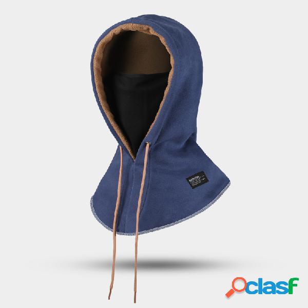 Proteção dupla masculina plus veludo espesso para manter quente à prova de vento para equitação ajustável chapéu capacete máscara