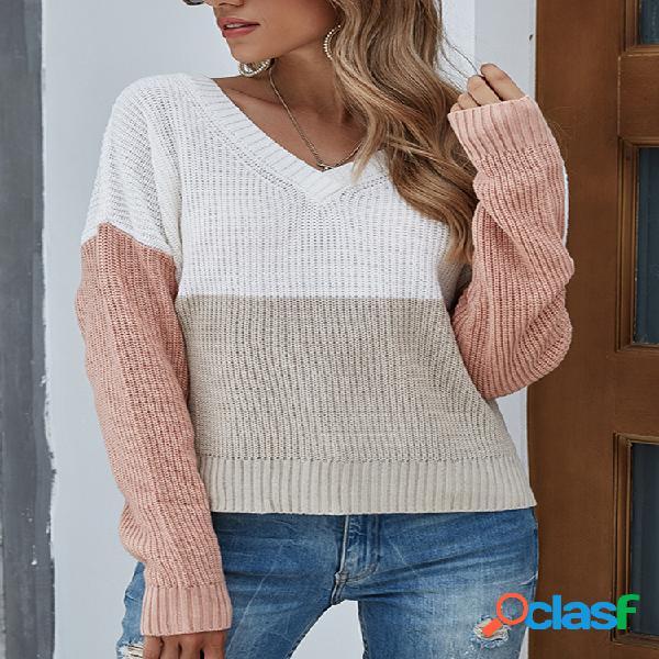 Suéter de malha casual com decote em v colorido