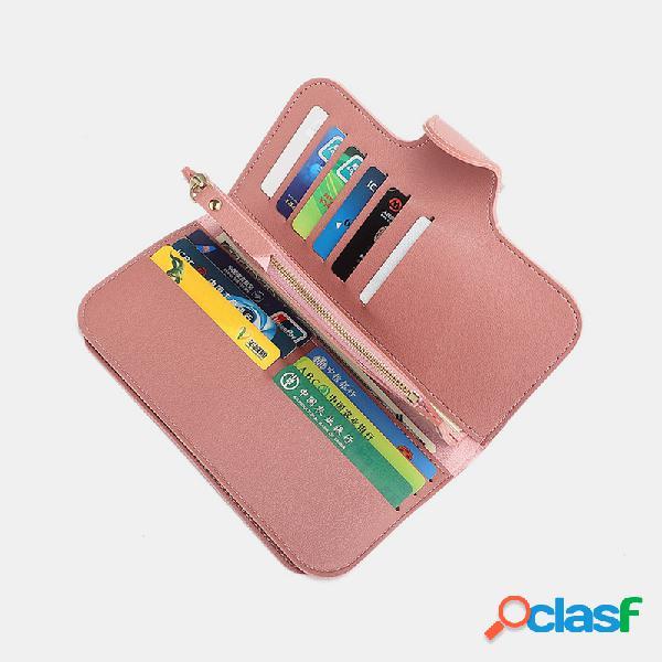 Bolsa feminina de couro pu para múltiplos cartões cartão fotográfico telefone bolsa bolsa carteira com clipe de dinheiro