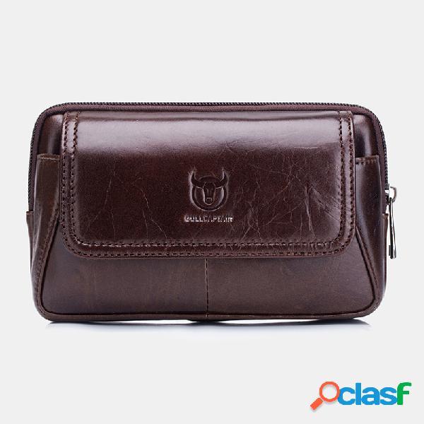 Edc vinatge couro genuíno 6,5 polegadas telefone bolsa cintura bolsa negócios bolsa