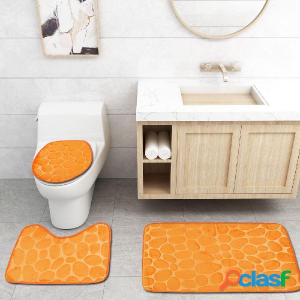 3 unidades antiderrapantes banheiro conjunto de tapete de banho tapete de contorno closestool tampa de tampa para casa banheiro