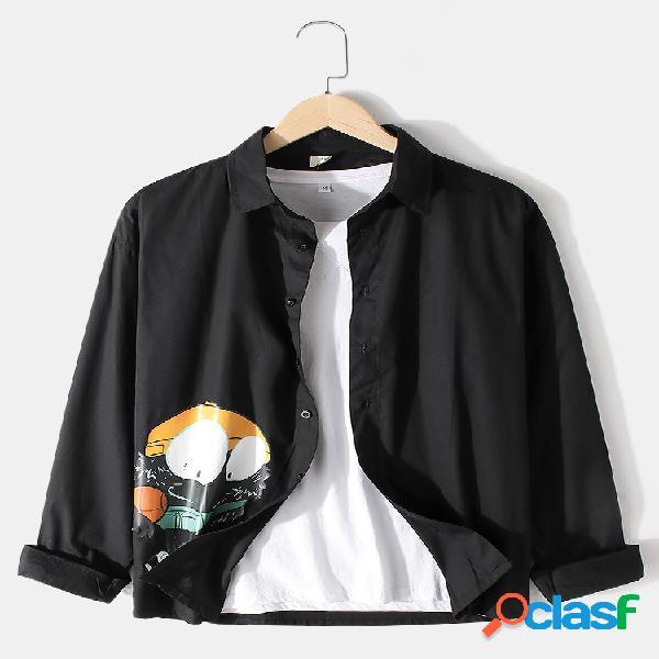Camisas de manga comprida masculina estampada de algodão cartoon com lapela lisa