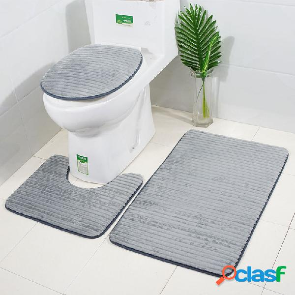 Conjunto de tapetes de banheiro antiderrapante 3d com 3 unidades soft absorvente banheiro tampa de assento de toalete com tapete e almofada de assento