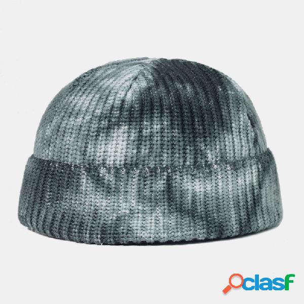 Lã de algodão tingida com nó chapéu top redondo ao ar livre keep warm elastic landlord caveira chapéu knit chapéu para masculino feminino gorro chapéu