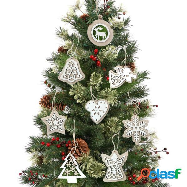 2 peças de madeira natural árvore de natal pingentes enfeites de artesanato presentes de natal decoração de festa de ano novo decoração para casa