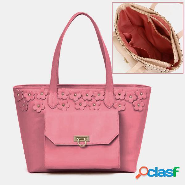 Bolsa de ombro de couro pu floral de grande capacidade para mulheres doces com vários bolsos bolsa