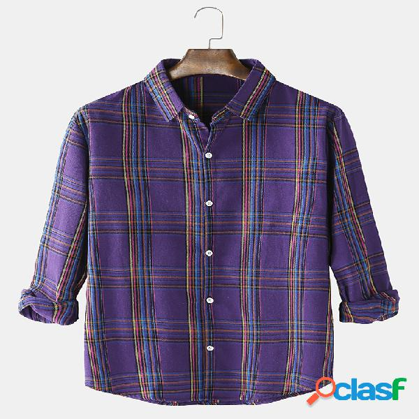 Camisas casuais de manga comprida masculina multicolorida com botão para cima solto
