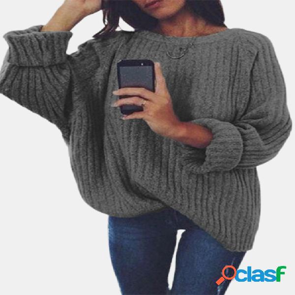 Camisola casual solta de manga comprida de cor sólida para mulheres