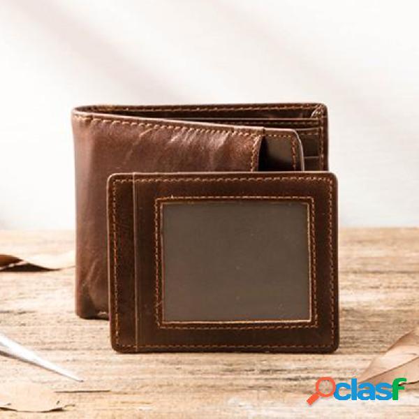Carteira masculina de couro sintético removível com vários slots retro dinheiro clipe moeda bolsa