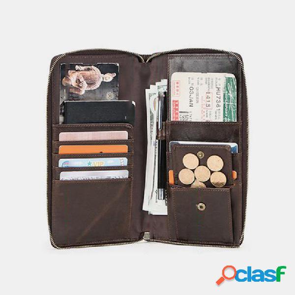 Carteira porta moedas masculina couro genuíno multi-slots para dinheiro clipe de 6,5 polegadas suporte para telefone