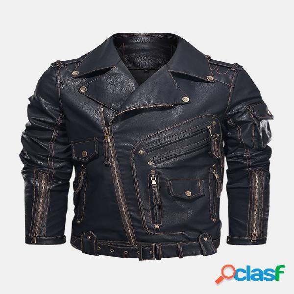 Jaquetas de couro pu de bolso com zíper para a indústria pesada masculina de motocicletas