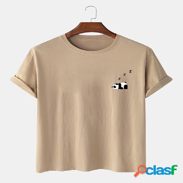 100% algodão masculino cor sólida panda estampa camiseta fina casual