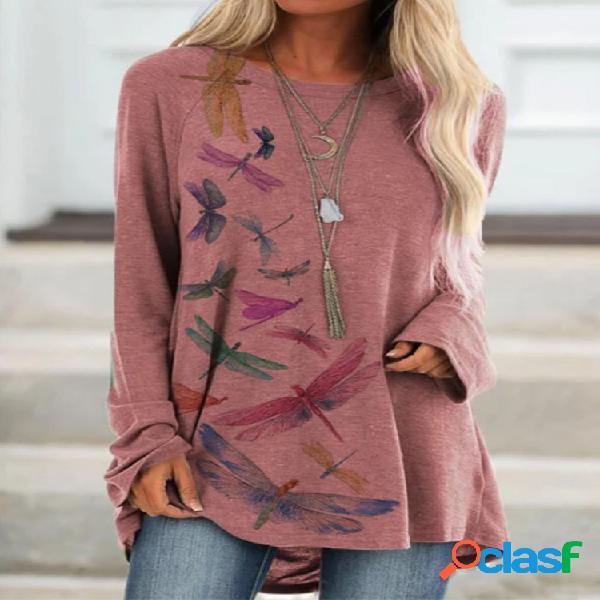 Blusa casual feminina com estampa de libélulas manga comprida com decote em o