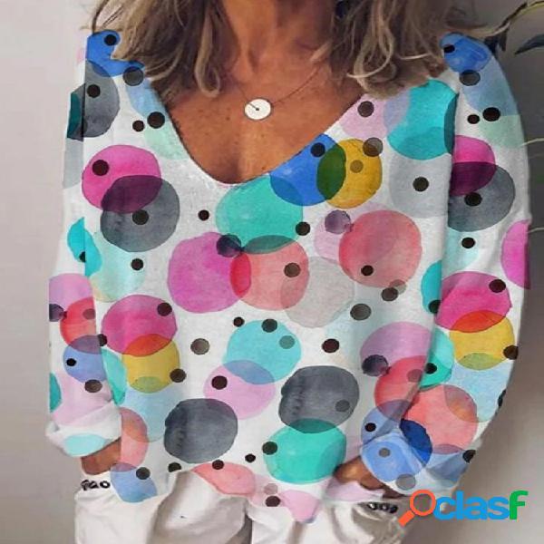 Blusa casual multicolorida com estampa de pontos de manga comprida com decote em v