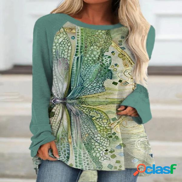 Blusa com decote em o com estampa libélula patchwork manga comprida feminina