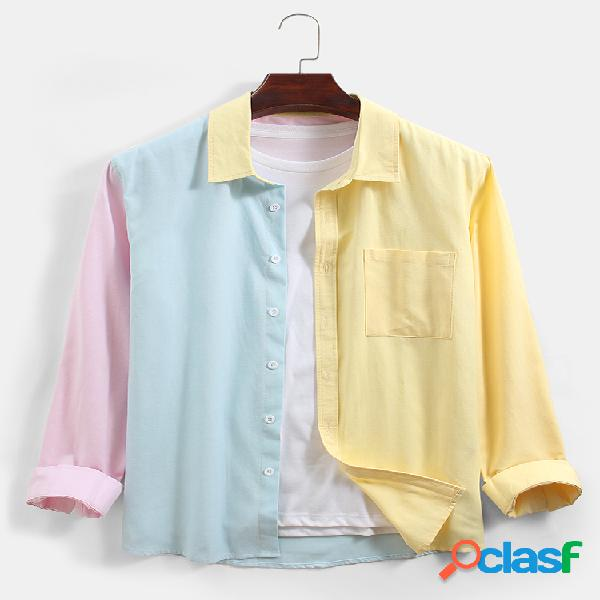 Camisas de manga comprida masculina colorblock patchwork de botão para cima lapela