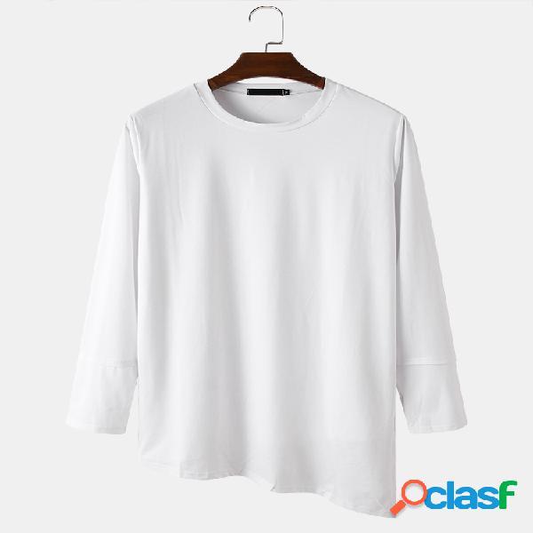 Camiseta masculina básica sólida irregular com bainha de algodão com gola longa