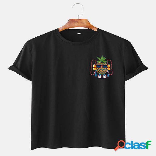 Camisetas engraçadas masculinas com estampa de abacaxi em torno do pescoço, camisetas casuais de manga curta
