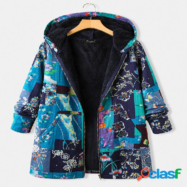 Casaco de lã com estampa floral vintage plus tamanho com capuz e bolsos