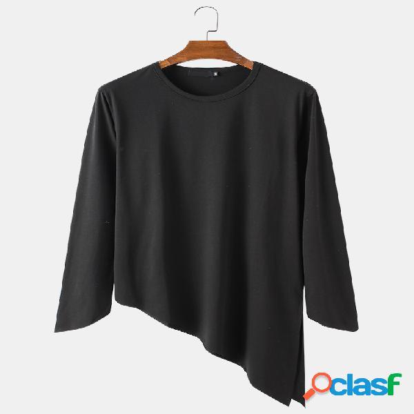 Masculino modal simples irregular bainha casual fit redondo decote manga longa camiseta
