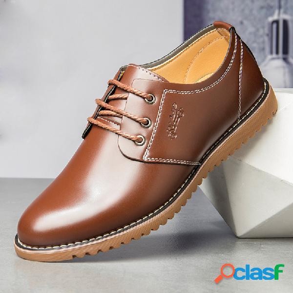 Masculino pure color microfibra comfy top low top com cadarço casual sapatos empresariais de couro