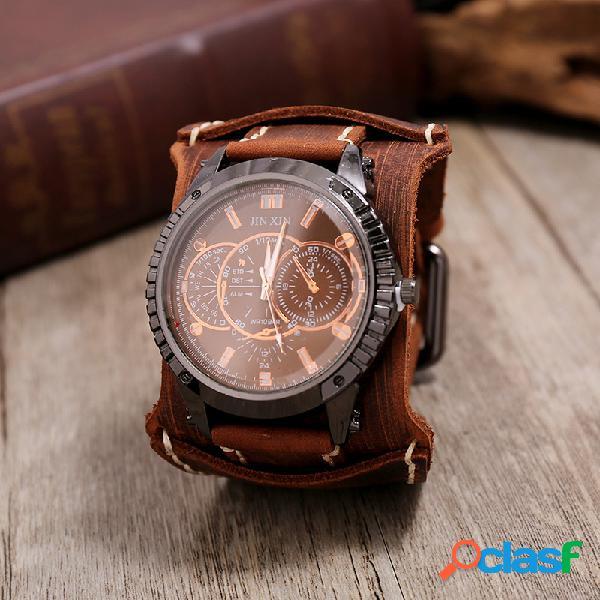 Relógio vintage com pulseira de couro de vaca afligido ajustável falso relógio de quartzo masculino de três mãos