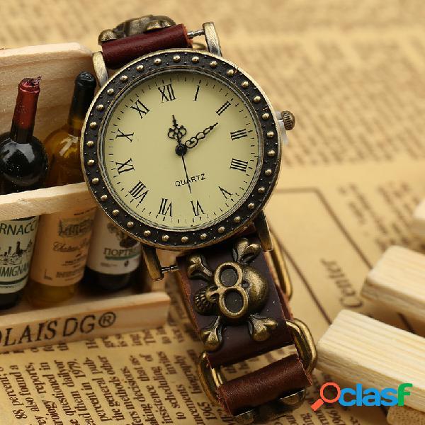 Relógio vintage pulseira de couro de vaca ajustável caveira relógio de quartzo masculino