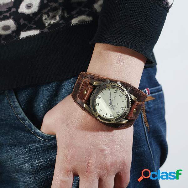 Relógio vintage pulseira de couro de vaca com alça ajustável de algarismos romanos relógio masculino de quartzo