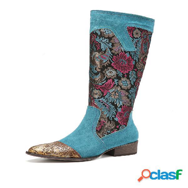 Socofy flor bush pano emenda floral em relevo couro genuíno botas elegantes informais de panturrilha média