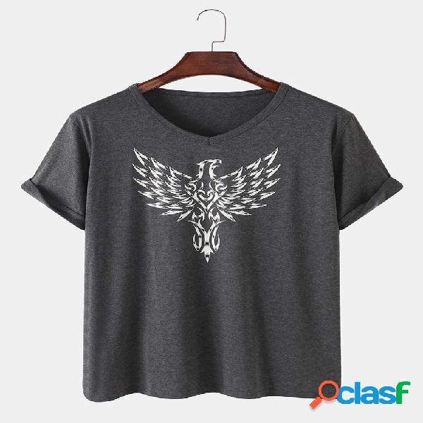 Camiseta masculina de algodão eagle estampada fina solta respirável com decote em o