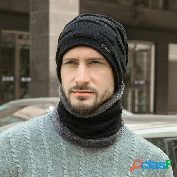 Masculino 2 pcs plus veludo espesso inverno externo mantenha aquecido proteção do pescoço cachecol lã chapéu gorro