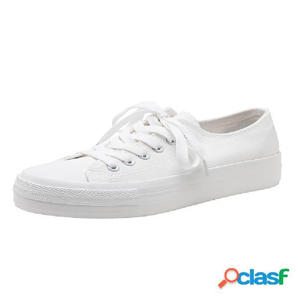 Sapato feminino casual com plataforma sólida de lona branca