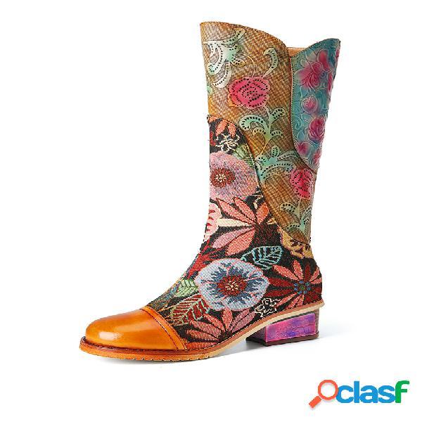 Socofy retro flor bordado tecido emenda couro genuíno botas de salto médio de salto alto de inverno