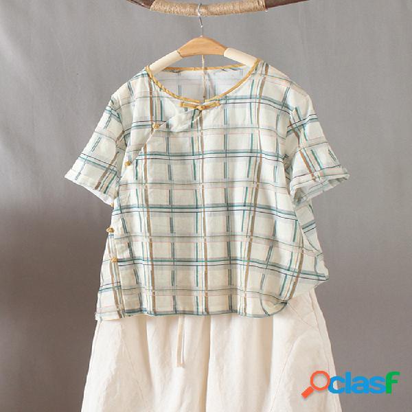 Camiseta de manga curta com decote em o de botão xadrez sapo