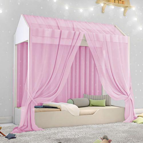 Cama casinha montessori infantil mosquiteiro rosa e