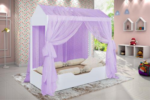 Cama casinha montessoriana infantil dossel lil/u00e1s e