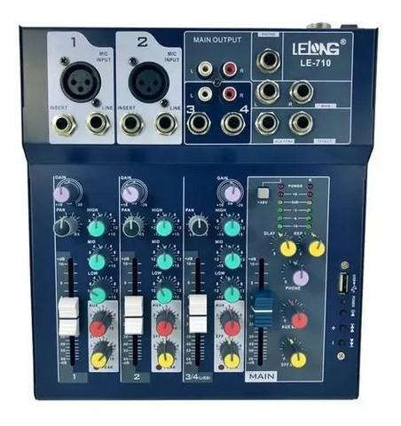 Mesa de som usb mixer mp3 player digital 4 canais le-710