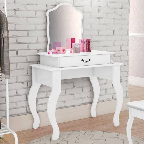 Penteadeira com espelho e porta joias 100% mdf dubai branco