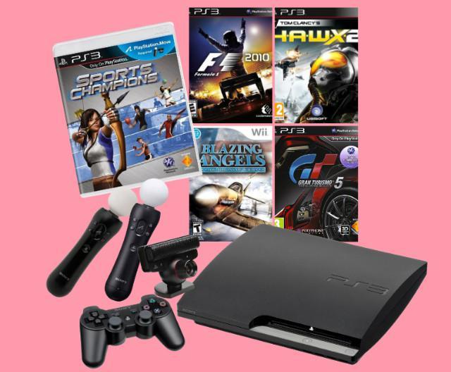 Sony playstation 3 slim 300gb + jogos + kit move