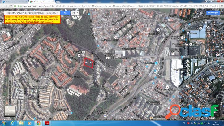 Terreno 3.457 m2, zm, campo limpo / horto do ypê - sp
