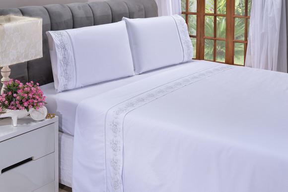 Jogo de lençol casal padrão floral branco com cinza 4