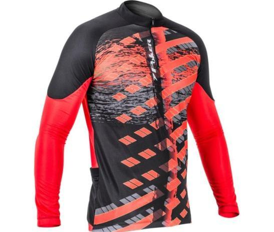 Camisa ciclista c/ zíper poker manga longa freeride ii