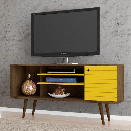 Rack para tv viton madeira amarelo