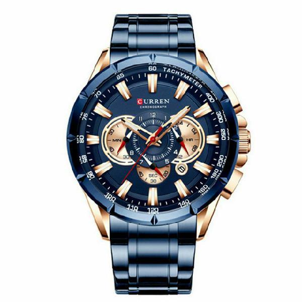 Relógio masculino inoxidável curren blue