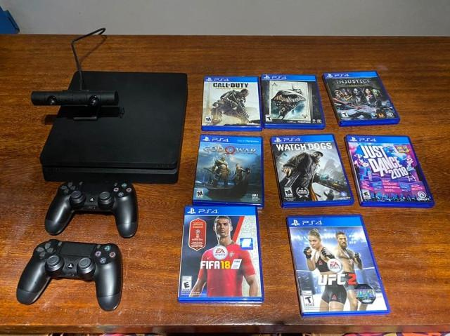Playstation 4 console slim 1tb + 2 controles + camera + 8